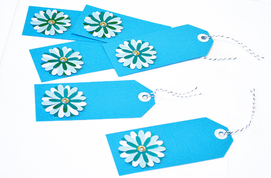 Gift Tags - 6 Aqua & Powder Blue Glitter Paper Flowers with Vintage Sequins