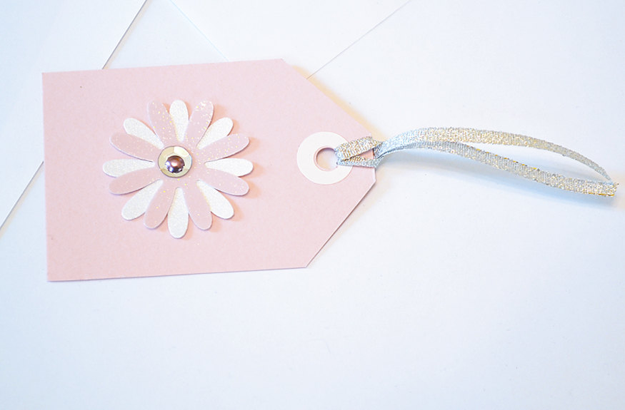 Gift Tags - 6 Pale Pink Glitter Paper Flowers with Vintage Sequins