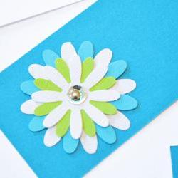 Gift Tags - 6 Tabriz Blue &amp; Bright White Glitter Paper Flowers with Vintage Sequins