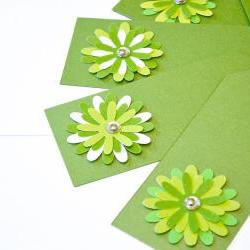 Gift Tags - 6 Shimmery Fairway Green &amp; Chartreuse Glitter Paper Flowers with Vintage Sequins