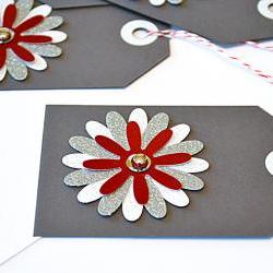 Gift Tags - 6 Star Bright Red &amp; Silver Glitter Paper Flowers with Vintage Sequins