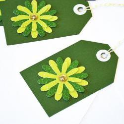 Gift Tags - 6 Grass Green Glitter Paper Flowers with Vintage Sequins