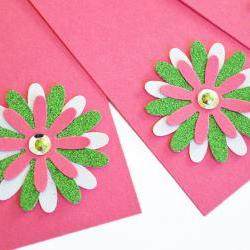 Gift Tags - 6 Hot Pink &amp; Lime Green Glitter Paper Flowers with Vintage Sequins