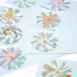 Gift Tags - 6 Aquamarine Shimmering Glitter Paper Flowers with Vintage Sequins