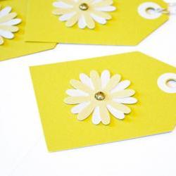 Gift Tags - 6 Chartreuse Glitter Paper Flowers with Vintage Sequins