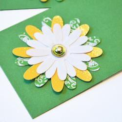 Gift Tags - 6 Crazy Daisy Paper Flowers with Vintage Sequins