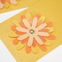 Gift Tags - 6 Tangerine & Butter Yellow Glitter Paper Flowers with Vintage Sequins