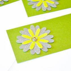 Gift Tags - 6 Olive Green & Silver Glitter Paper Flowers with Vintage Sequins