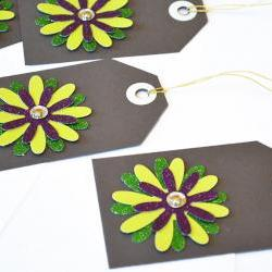 Gift Tags - 6 Lime Green & Purple Glitter Paper Flowers with Vintage Sequins