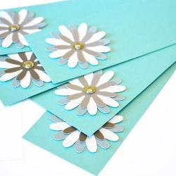Gift Tags - 6 Shimmering Blue Lagoon & Satin Silver Glitter Paper Flowers with Vintage Sequins