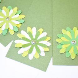 Gift Tags - 6 Shimmering Shamrock Green Glitter Paper Flowers with Vintage Sequins