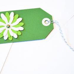 ift Tags - 6 St Paddy&#039;s Day Green &amp; Turquoise Glitter Paper Flowers with Vintage Sequins