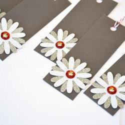 Gift Tags - 6 Mini White Glitter &amp; Silver Glitter Paper Flowers with Vintage Sequins