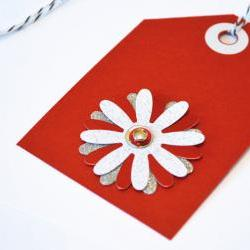 Gift Tags - 6 Valentine Red &amp; Silver Glitter Paper Flowers with Vintage Sequins