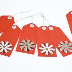 Gift Tags - 6 Brilliant Red &amp; Snow White Glitter Paper Flowers with Vintage Sequins