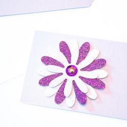 Gift Tags - 6 Lilac &amp; Purple Glitter Paper Flowers with Vintage Sequins