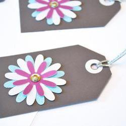 Gift Tags - 6 Baby Blue, Snow White &amp; Magenta Glitter Paper Flowers with Vintage Sequins