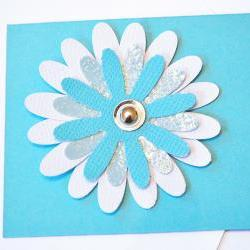 Gift Tags - 6 Turquoise &amp; Bright White Glitter Paper Flowers with Vintage Sequins